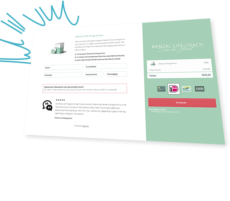 Een Peggy Pay betaalpagina vol met handige marketingmechanieken - Peggy Pay