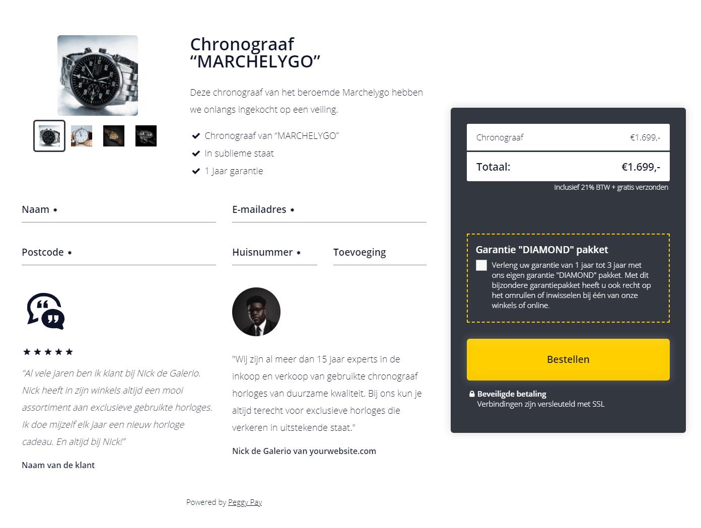 Betaalpagina met ideal - Chronograaf horloge