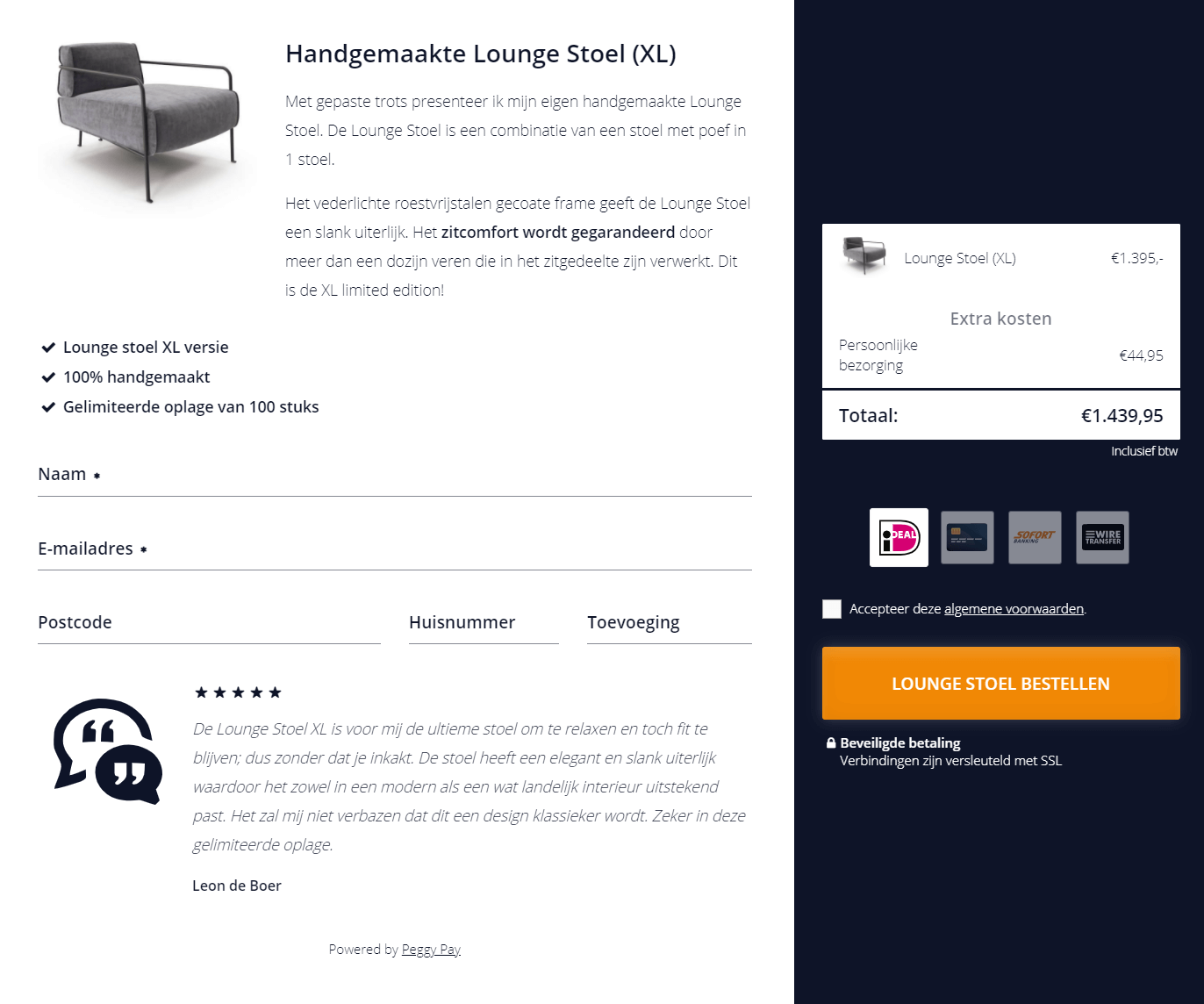 Betaalpagina met ideal - Handgemaakte loungestoel (XL)